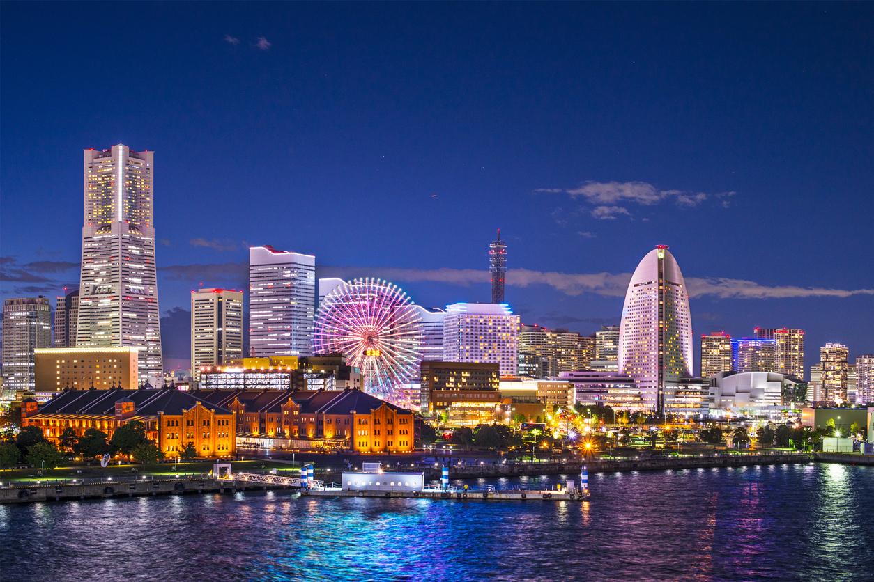Yokohama, Japan aerial view at Minato Mirai waterfront district.
