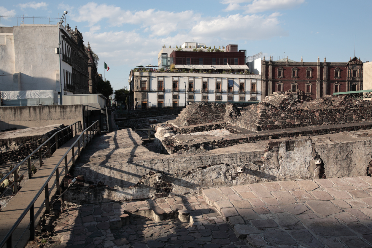 The Templo Mayor (Great Temple) was one of the main temples of the Aztecs, in Zocalo square, Mexico city, Mexico.