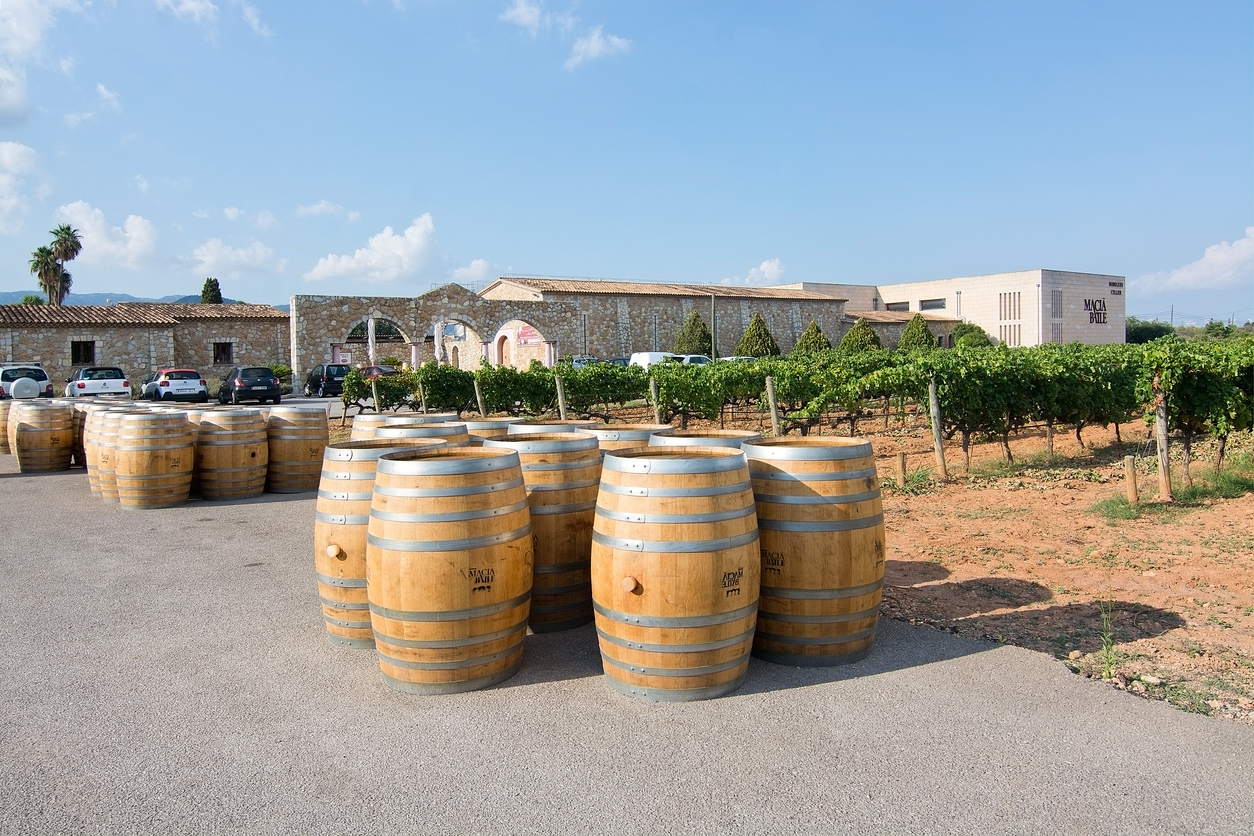 MALLORCA, SPAIN - AUGUST 22, 2018: Wine barrels of oak outside large Macia Batle wine producer on August 22, 2018 in Mallorca, Spain
