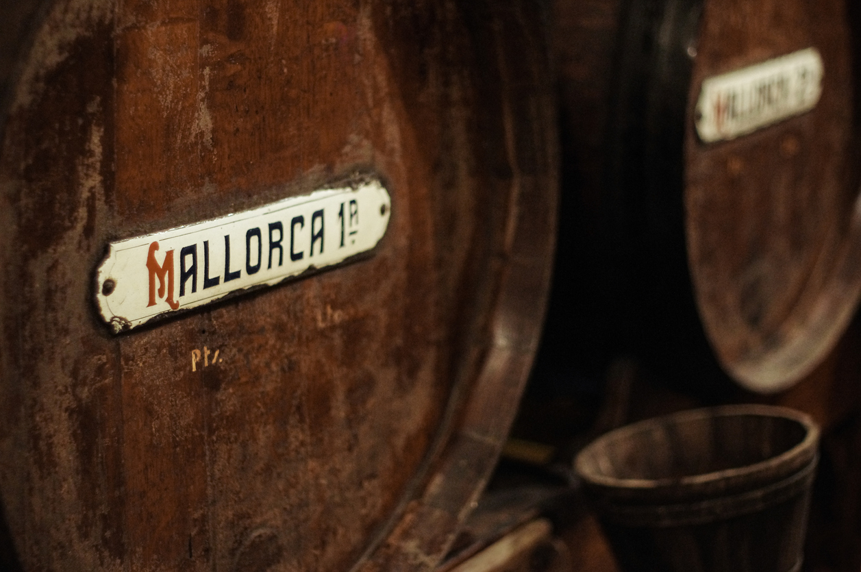Barrel of wine from Majorca, Balearic islands, Spain. Colour image, horizontal, no people.