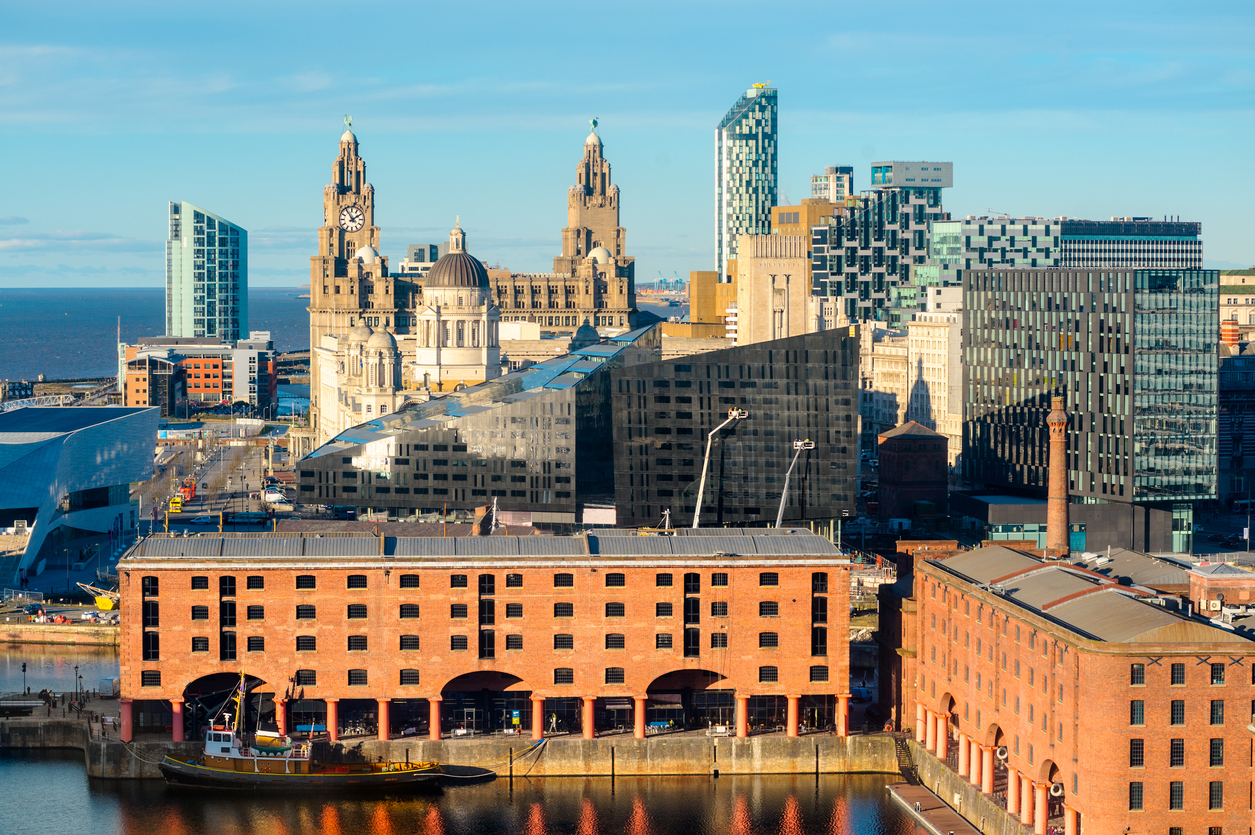 Looking over the landmarks of Liverpool from an elevated viewpoint.