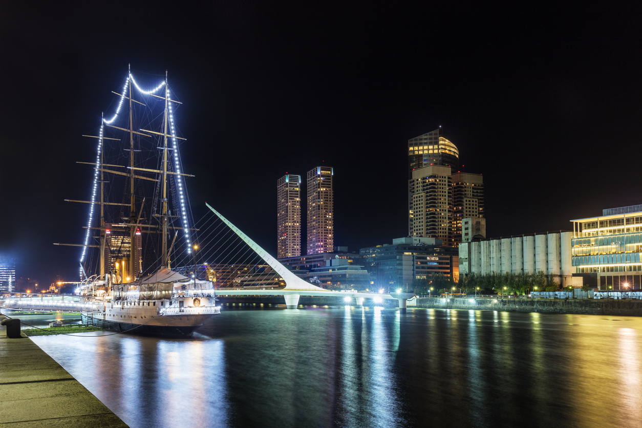 Buenos Aires, Argentina - January 25th 2016. Puerto Madero Waterfront in Buenos Aires seen at night. To the left is the Frigate Presidente Sarmiento.