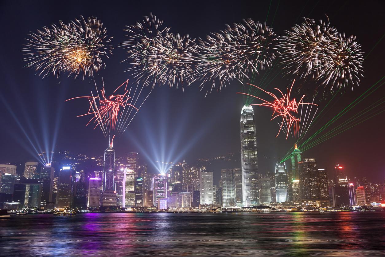 Fireworks Celebration at Hong Kong Victoria Bay view From Kowloon