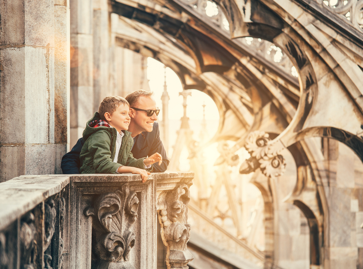 Father with son on the roof of Duomo di Milano