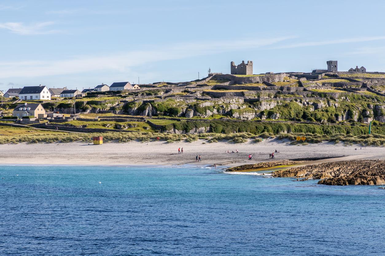 Beach and village in Inisheer island, Aran Islands, Galway, Ireland