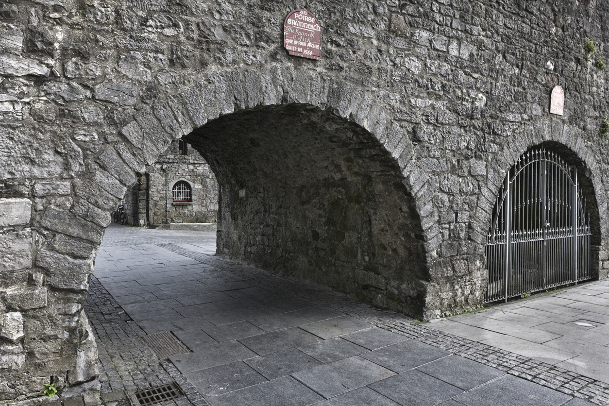 Spanish Arch and the original city wall from the Middle Ages in Galway, County Galway, Ireland.