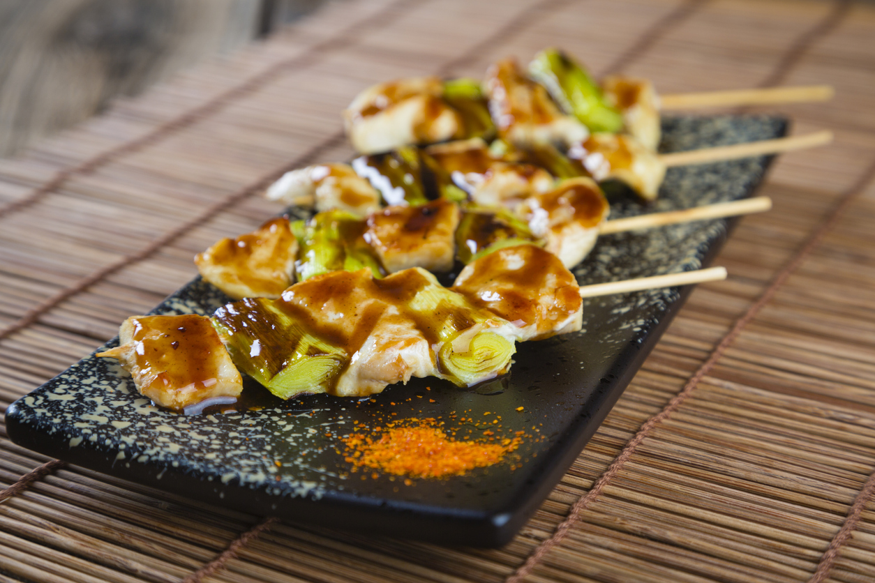 A plate of authentic Japanese yakitori.