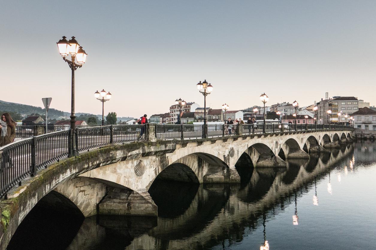 Pontevedra, Galicia/Spain - October 14, 2014: Burgo bridge, built by the romans, over the river Lerez, on the Way of St James (Camino de Santiago), to Compostela