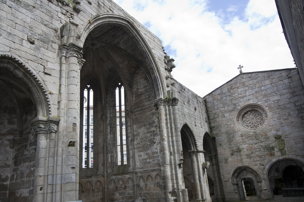Santo Domingo gothic style convent ruins . Founded in around 1282. Pontevedra city, Galicia, Spain.