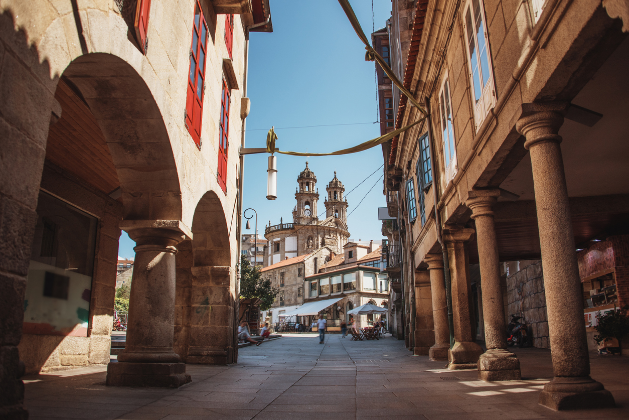 Street in the old town of Pontevedra, Galicia, Spain