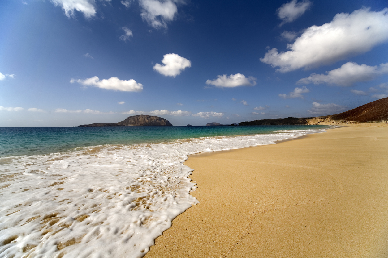 Bay Las Conchas; northern part of Island Graciosa, a small volcanic island laying North from Lazarote, one of the bigger Canary islands.