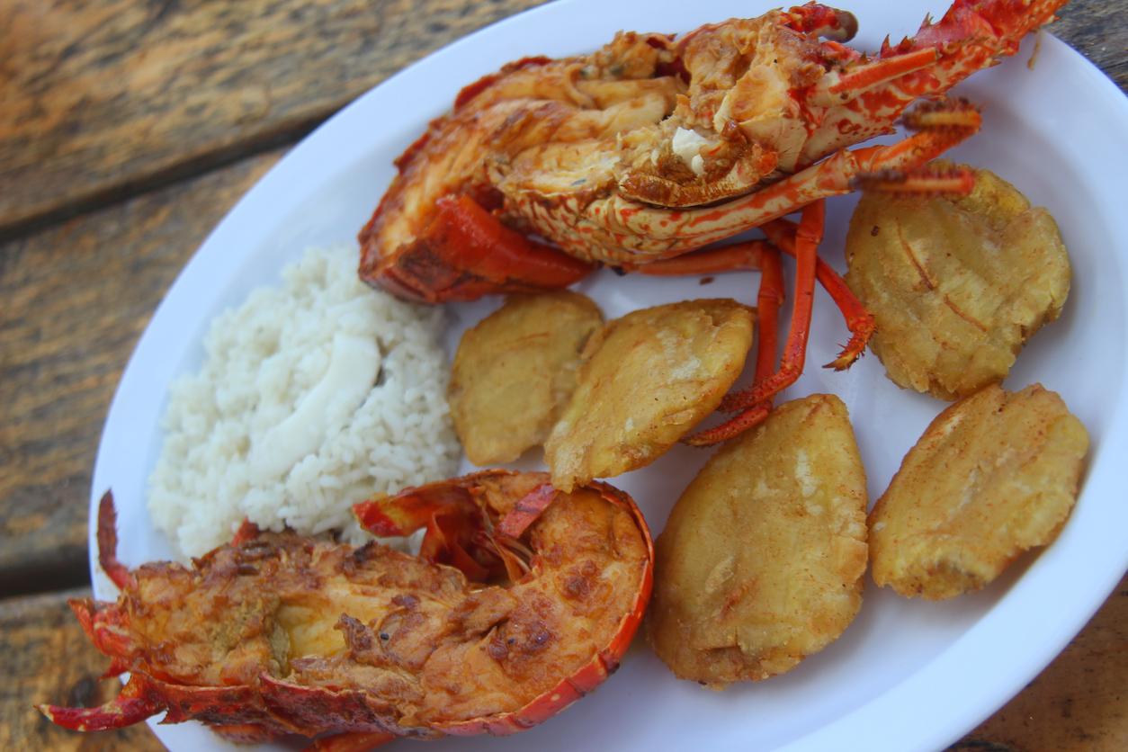 Este plato de langosta con patacones y arroz después de un día de playa, a un bajo costo es de las mejores cosas que te puede pasar en San Blas