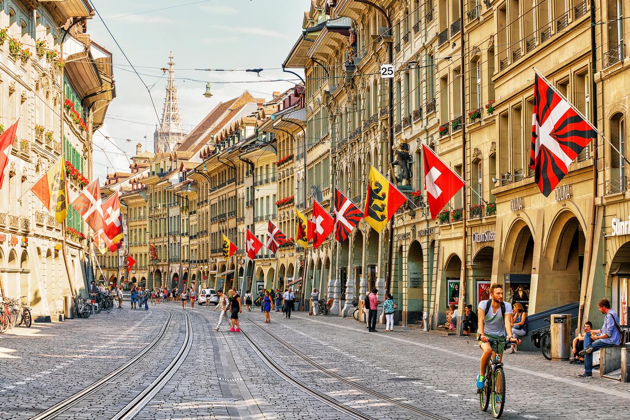 Bern, Switzerland - August 31, 2016: People at Marktgasse street in old city center of Bern, Bern-Mittelland, Switzerland