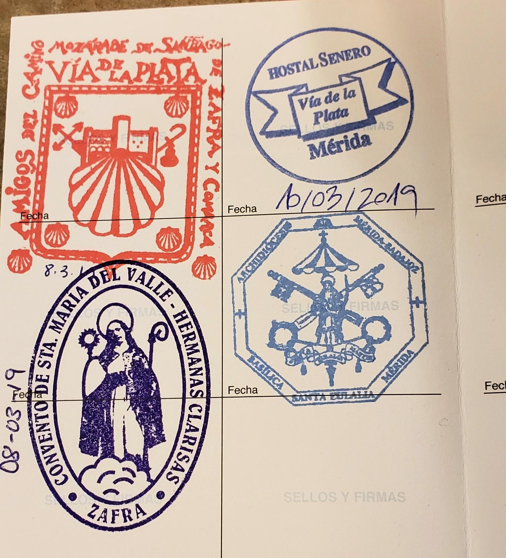 L2F Jul 20 pic Spain Way of St James pilgrim stamps