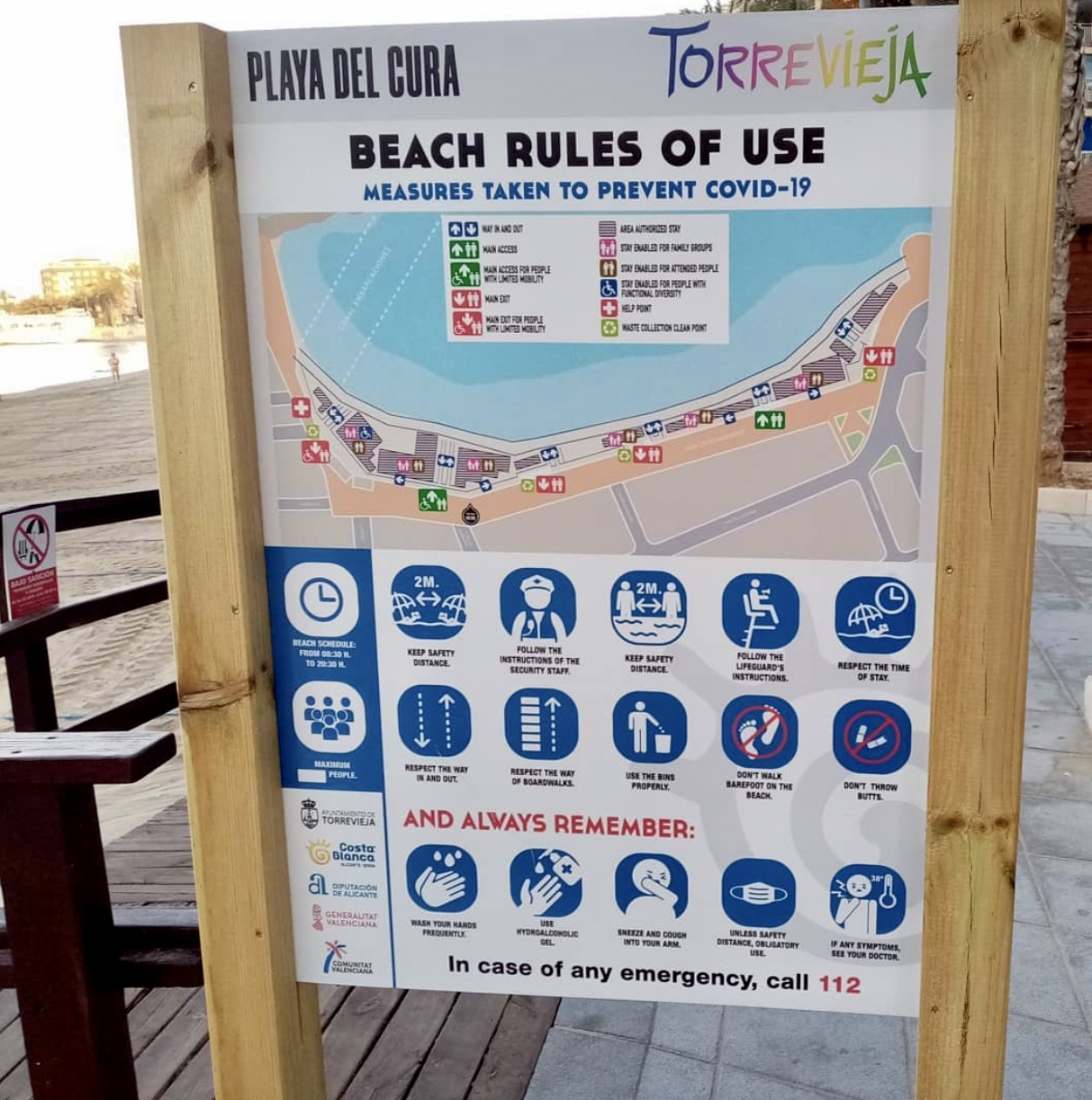 L2F Jul 20 pic Spain reopens beaches Torrevieja sign - English