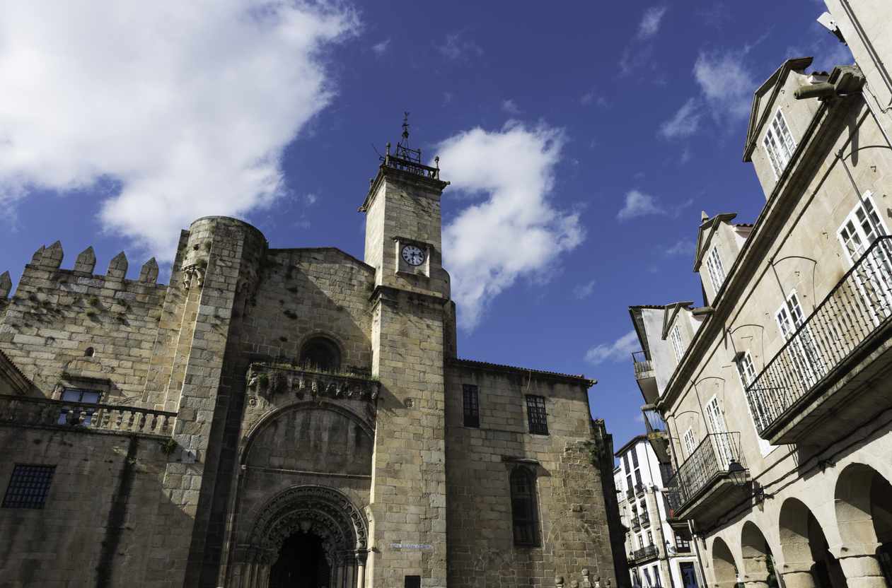 Side view of the romanesque cathedral of Ourense in Galicia, Spain.