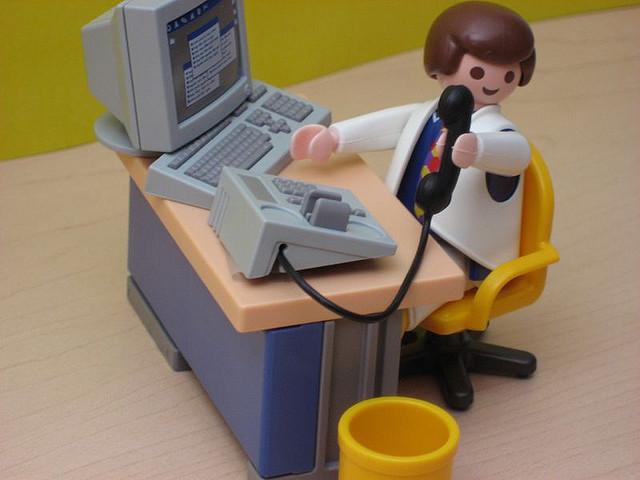 Playmobil Man - Desk and Phone