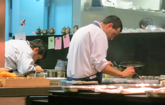 Dinner at Ricard Camarena--that's him in the kitchen!